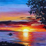 Romantic Sunset Palette Knife Oil Painting Canvas Leonid