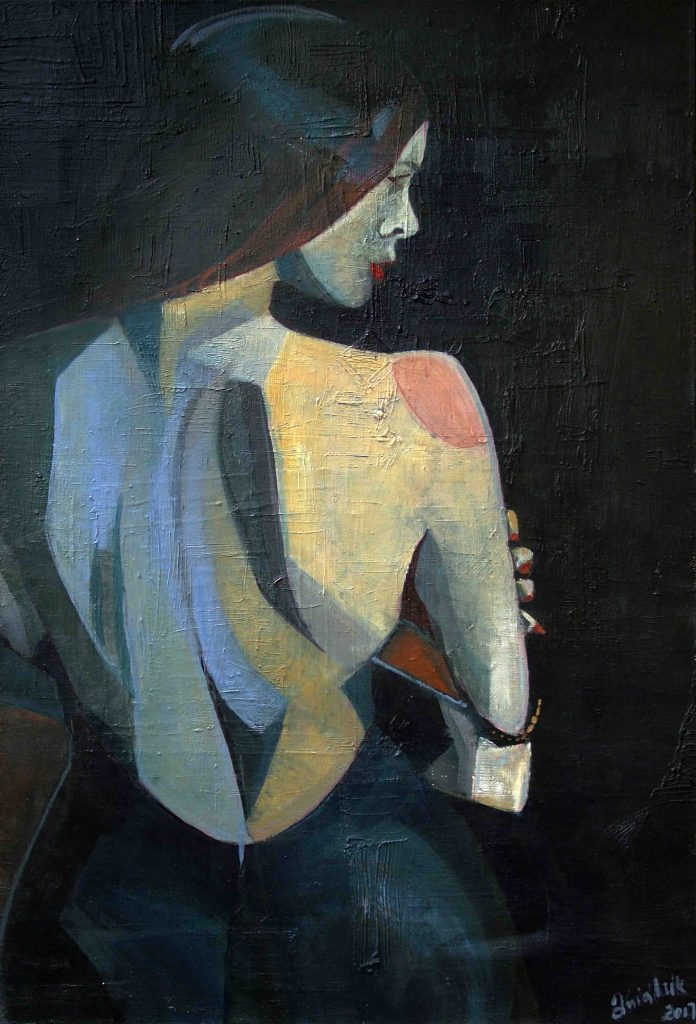 Sensual Painting Mysterious Woman Inspired Cubism Ania Luk