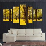 Shipping Pcs Autumn Scenery Yellow Leaves Home Decor Wall Art Canvas