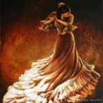 Spanish Art Flamenco Dancer Gold Hand Painted Woman Oil Paintings Canvas Wall