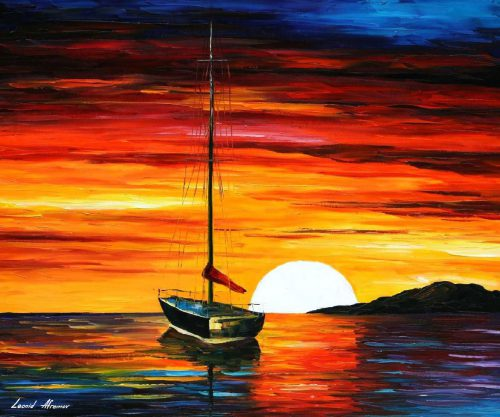 Sunset Hill Palette Knife Oil Painting Canvas Leonid