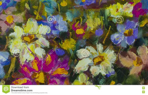 Texture Oil Painting Flowers Art Painted Color Paint