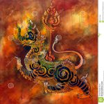 Thai Mythology Lion Sigha Painting