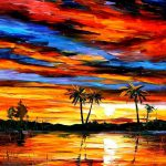 Tropical Sunset Palette Knife Oil Painting Canvas Leonid