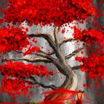 True Love Waits Red Gray Art Painting Lourry