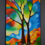 Two Trees Original Abstract Tree Painting Sally