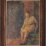 Vintage Oil Painting Woman Repose Signed Kay Spina Decorative Wood Frame