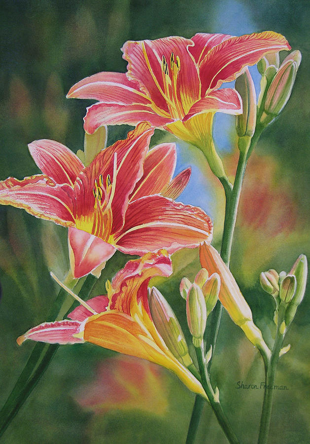 Vintage Red Orange Lilies Painting Sharon