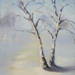 Winter Birch Tree Oil Painting Original