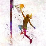 Young Woman Basketball Player Watercolor Painting Pablo